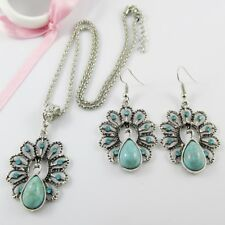 2pce Bold Statement Rhinestone & Turquoise Peacock Necklace & Earring Set