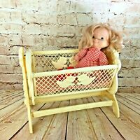 """vintage adorable doll cradle & fisher Price doll furniture child play set 15"""" w"""