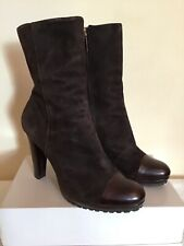 LK BENNETT 'SAVOY' DARK CHOCOLATE BROWN SUEDE ANKLE BOOTS SIZE 7.5/41