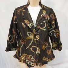 Agora Brown Crinkle Material Ribbon Flower & Embroidery Jacket Size M