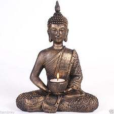THAI BUDDHA CANDLE TEALIGHT HOLDER BRONZE RESIN GIFT THERAPY HEALING SPIRITUAL