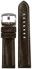 22mm XL Panatime Brown Leather Vivola Watch Band w/White Stitching 125/85 22/20