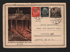 OPC 1934 Germany Dusseldorf to USA Propaganda Card Ruff Condition