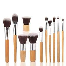 11Pcs Cosmetic Makeup Brushes Tools Set Synthetic Hair Eco Bamboo Handle w/