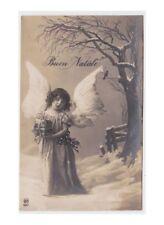1925 Augurali Natale foto cartolina d'epoca bambina angelo con pacchetto regalo