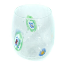Murano Glass Drinking Tumbler Candle Holder Clear Glass Green Yellow Millefiori