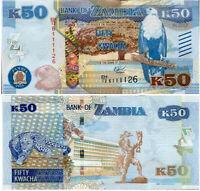 Zambia 50 Kwacha 2015 P 60 Tactile Blind Marks UNC