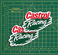 "CASTROL RACING Splash Logo Rally Touring Car STICKERS 4"" Pair Race Bike Classic"