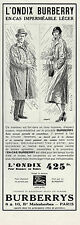 PUBLICITE  BURBERRYS ONDIX IMPERMEABLE LEGER  MODE FASHION  AD  1933    / 5 F
