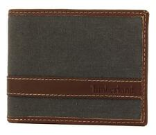 NEW TIMBERLAND MEN'S CLASSIC VINTAGE LEATHER CANVAS ID WALLET GRAY D88218/30