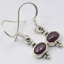 "925 Sterling Silver Collectible RUBY FRENCH HOOK Earrings 1.1"" ONLINE SHOPPING"