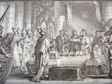 GRAVURE XVIIIe / LOUIS PARTAGE LA MONARCHIE ENTRE SES FILS AN 816