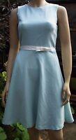 WAREHOUSE Aqua Blue Cut Out Back Sleeveless Lined Skater Style Summer Dress 8