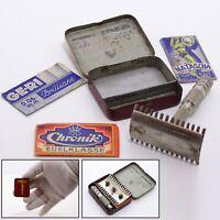 Vintage Safety Razor with 3 Blades in Mini Metal Tin Box Case 1930's