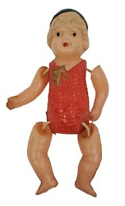 """Celluloid Boy Doll Strung Arms And Legs Green Hat Red Clothes Made In Japan 3"""""""