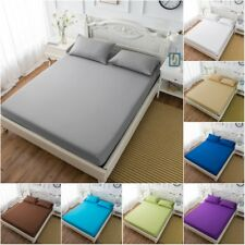 Soft Microfiber Bed Sheet Fitted Sheet Cotton Blend Full Queen King Plain Color