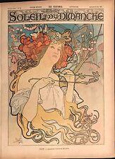 """MUCHA ALPHONSE  """"SOLEIL DU DIMANCHE """" JOURNAL ILLUSTRÉ DU DIMANCHE 6 JUIN 1897"""