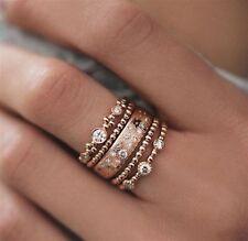 Rose Gold Rings Jewellery Set - Crystal Party Boho Fashion 5 pcs UK