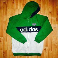 Adidas Trefoil Mens Large Hoodie Sweatshirt Zip Up Green Vintage Rare