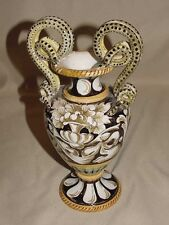 """Marked Mica 158/25 Double Snake Handled Vase 10"""" Tall Beautiful Colors Mila? Exc"""
