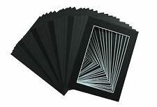 Set of 100 5x7 BLACK Mat with WhiteCore mats for  4x6 Photos +Backings + Bags