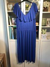 JJ35 George Plus Sz 22 Cobalt Blue Soft Jersey Maxi Dress Frill