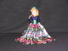 "Doll 7"" storybook ""Dress Me"" #7 Blonde Hair Sleep eyes Blue satin Plaid green"