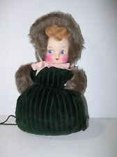 Vintage Childs Doll Muff Hand Warmer Faux Fur Bonnet Green Velvet Painted Face