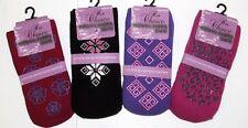 4 Pair Ladies Thermal Slipper Gripper Socks Womens Winter Warm Soft UK SZ 4-7