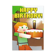 ALEX CAKE GREETING CARD A6 - Birthday son mine craft gaming non-personalised