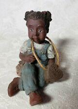 "Sarah'S Attic ""Libby"" Black Girl Figurine in Overalls Orig. Heart on String"