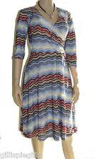 Chevron Striped Womens Dress M MEDIUM 8/10 Multi Black Coral Periwinkle Yellow