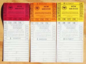 1972-1973 1974-1975-1976-1977-1978 New Mexico motor vehicle inspection stickers