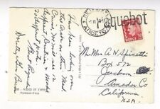 1953 Norway, PPC with Greece Paquebot Ship Straight Line to Jackson California
