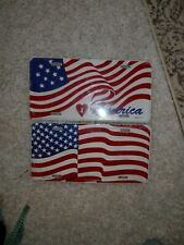 America License plate lot (2) NEW VTG I heart America USA Flag USA