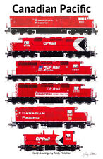 """Canadian Pacific Red Locomotives 11""""x17"""" Poster by Andy Fletcher signed"""