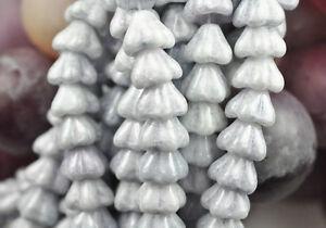 10 Ultra Blue Luster Bell Flower Czech Glass Beads 8MM