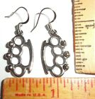 """""""brass knuckles"""" earrings old collectible biker chick lady rider jewelry"""