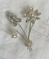 VINTAGE 50s Clear Diamante Paste Flower Spray Posy Silver Rivet Retro Pin Brooch