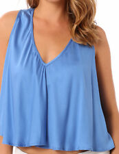 New Junk 8 10 S/M Blue Florida Drape Rayon V Neck Dressy Top