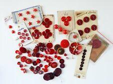 Large Lot 100+ Antique Vintage Red Bakelite Plastic Celluloid Glass Buttons