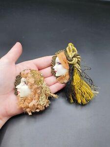 Vintage 1990s Ceramic Tassel Lady Brooch Set