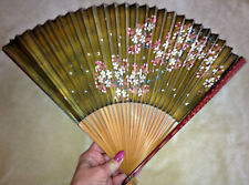 c1900 JAPANESE 2 Sided Hand Painted PAPER Fan GOLD FLORAL & BLUE OCEAN w/ Fish