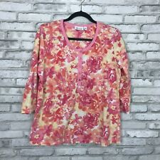 Denim & Co. Womens M Perfect Jersey 3/4 Sleeve Button Front Printed Henley Top