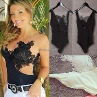 Womens Ladies sleeveless Stretch Leotard Bodysuit Top Lace Black White Hot Sale