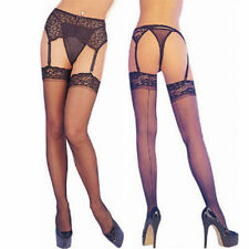 Sexy Black Lace Top Thigh High Stockings With Back Seam NEW