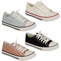 Ladies Canvas Plimsoll Trainers Girls Womens Skate Lace Up Flat Pumps Casual