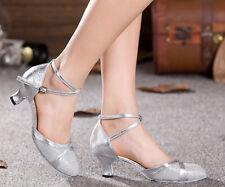 Womens Dancing Party Soft Block Heel Cross Straps Square Latin Banquet Shoes SZ