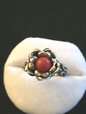 Antico Anello in argento 925 con corallo fatto a mano Liberty Art Nouveau A50