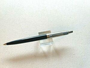 1960s Black Parker Jotter Ball Pen Smooth button Brass threads Old logo NICE!!